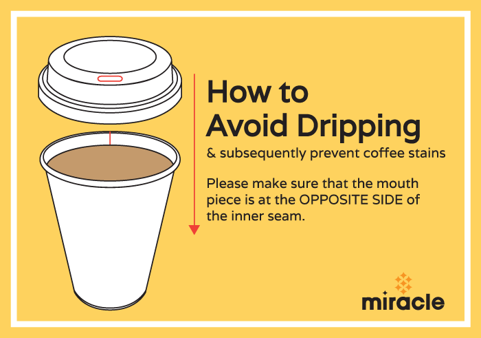 How to place a lid to prevent coffee stains and drips